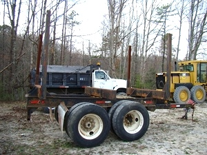 USED LOG TRAILER TWO AXLE PUP TRAILER FOR SALE