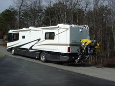 WORLDS BEST RV MOTORCYCLE LIFT BY HYDRALIFT.DRIVE-ON DRIVE-OFF